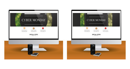 pair: Pair of computer screens with different cyber monday web templates