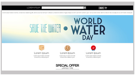 water theme: Colored web template with a save the water theme