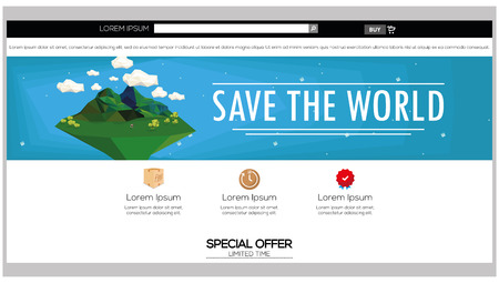 webpage: Colored web template with a save the world theme