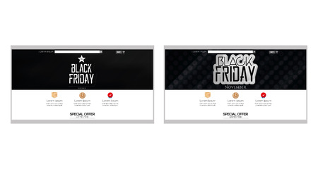 pair: Pair of colored web templates with a black friday theme