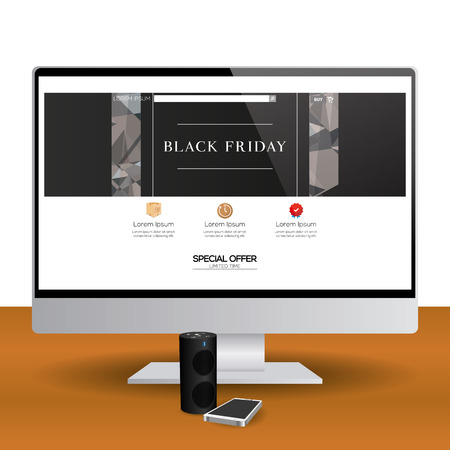 Isolated Computer Screen With A Black Friday Web Template Royalty ...