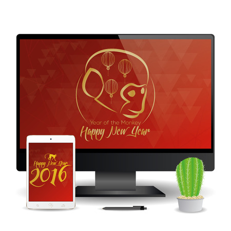 a cellphone and a computer screen with chinese new year screensavers stock vector 51758934