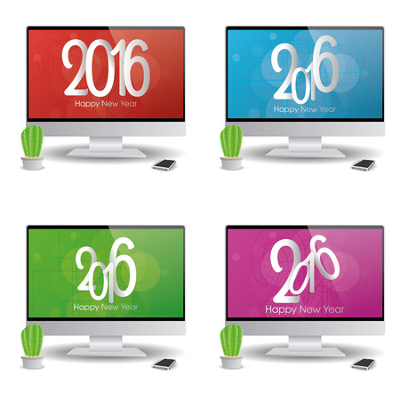 screensavers: Set of computer screens with new year screensavers Illustration