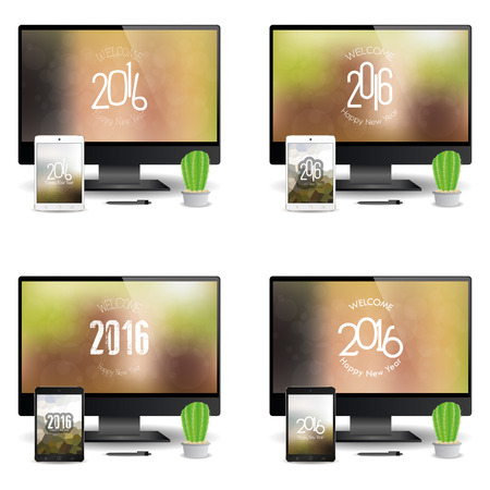screensavers: Set of cellphones and computer screens with new year screensavers