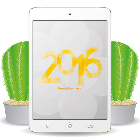 screensaver: Isolated cellphone with a pair of cactus and a new year screensaver