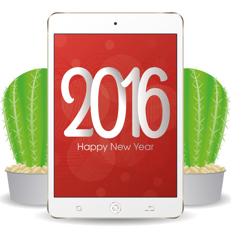 isolated cellphone with a pair of cactus and a new year screensaver stock vector 51759213