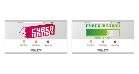 Set of colored web templates with cyber monday themes