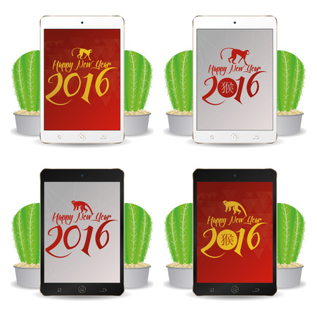 cellphones: Set of cellphones with chinese new year screensavers