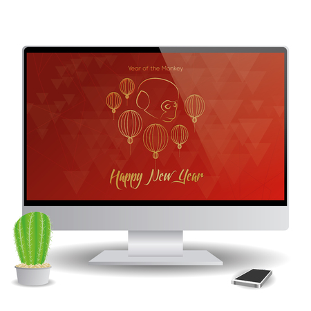 screensaver: Isolated computer screen with a chinese new year screensaver Illustration