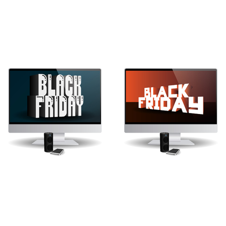pair: Pair of computer screens with black friday backgrounds