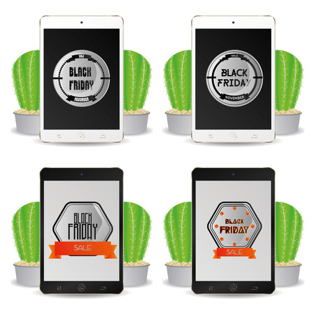 cellphones: Set of cellphones with black friday backgrounds Illustration