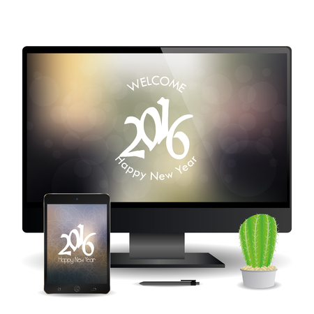 a cellphone and a computer screen with new year screensavers stock vector 51759379