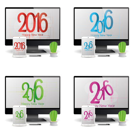 screensavers: Group of cellphones and computer screens with new year screensavers