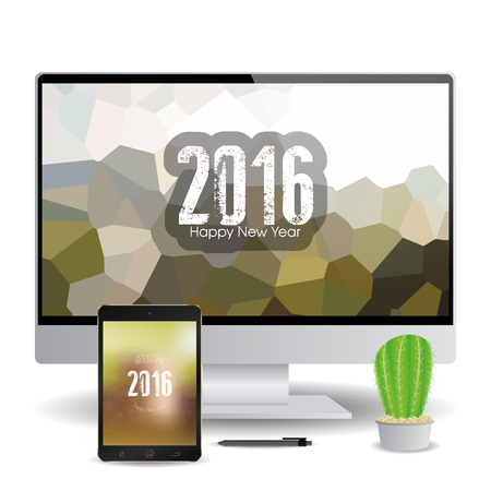 isolated cellphone and a computer screen with new year screensavers stock vector 51759430