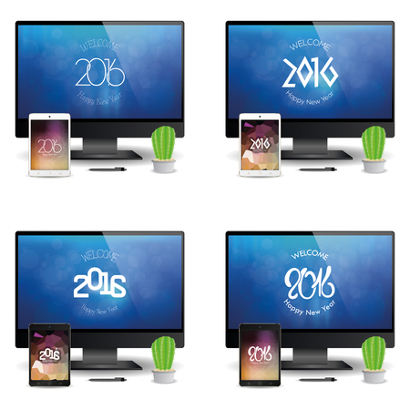 set of cellphones and computer screens with new year screensavers stock vector 51759434