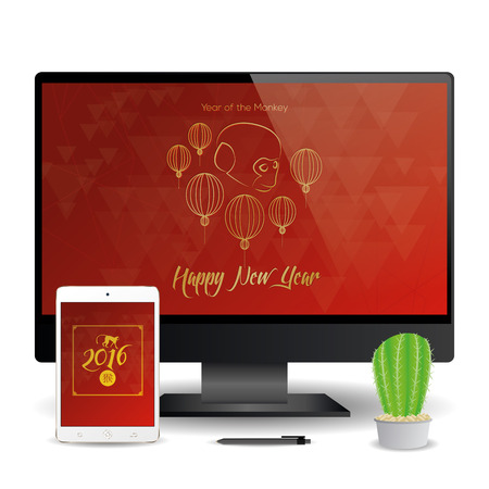 screensavers: A cellphone and a computer screen with chinese new year screensavers