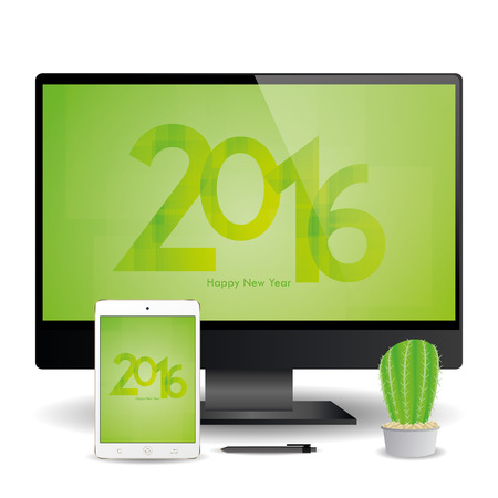 a cellphone and a computer screen with new year screensavers stock vector 51759446