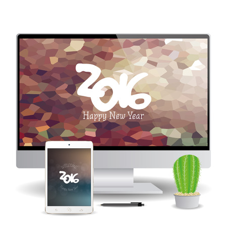 isolated cellphone and a computer screen with new year screensavers stock vector 51759460