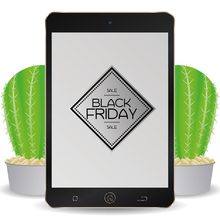 types of cactus: Isolated cellphone with a black friday background Illustration