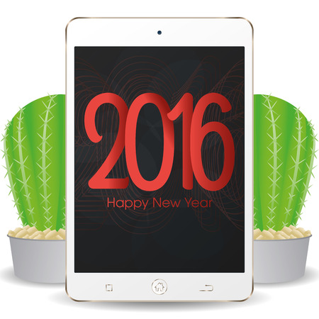 isolated cellphone with a pair of cactus and a new year screensaver stock vector 51759560