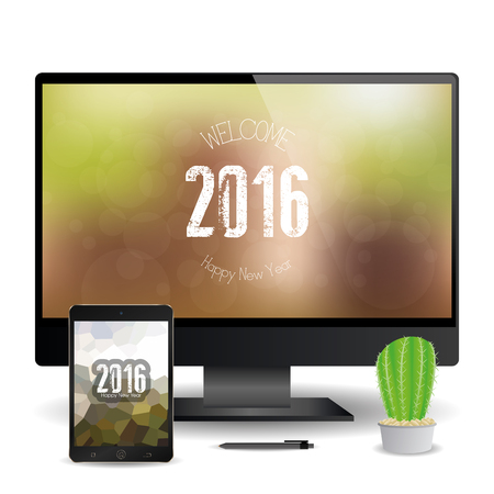 screensavers: A cellphone and a computer screen with new year screensavers