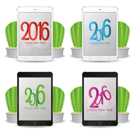 cellphones: Set of cellphones with new year screensavers