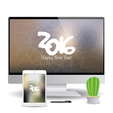 screensavers: Isolated cellphone and a computer screen with new year screensavers