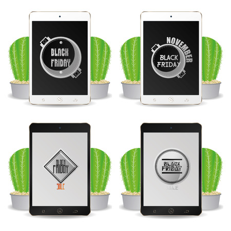 types of cactus: Set of cellphones with black friday backgrounds Illustration