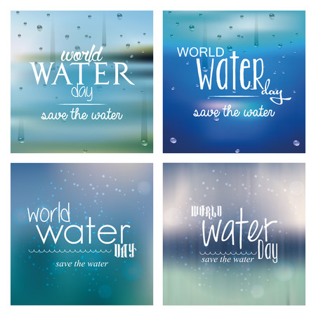 Set of blue backgrounds with text for water day Illustration