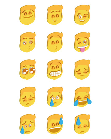 emote: Set of different facial expressions on a white background Illustration