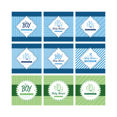 textured backgrounds: Set of labels on textured backgrounds for baby showers. Vector illustration