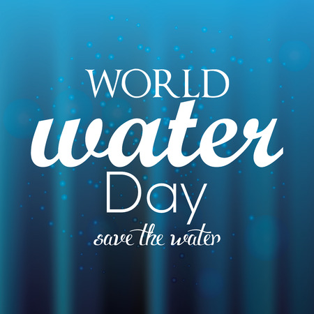 environmental awareness: Blue background with text for water day Illustration
