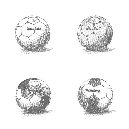 balonmano: Conjunto de dibujos de pelotas de balonmano sobre un fondo blanco Vectores