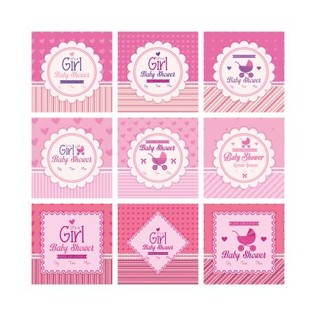 Set d'étiquettes sur des fonds texturés pour des douches de bébé. Vector illustration