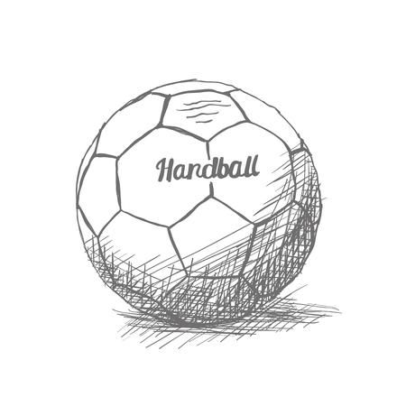 Geïsoleerde schets van een handbal bal op een witte achtergrond