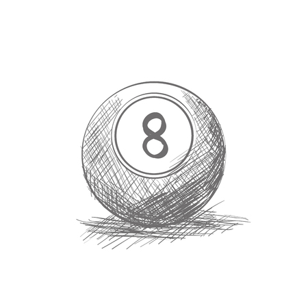 billiard ball: Isolated sketch of a billiard ball on a white background