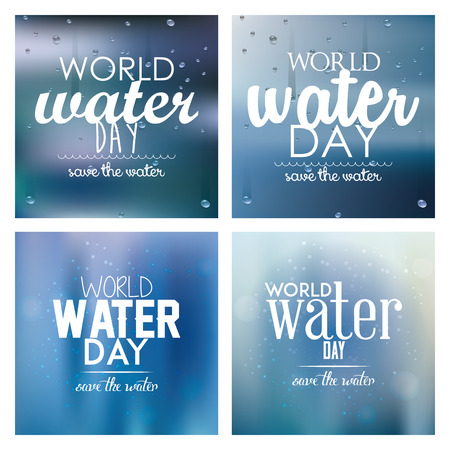 blue  backgrounds: Set of blue backgrounds with text for water day Illustration