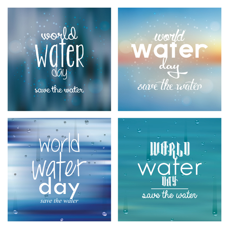 environmental conservation: Set of blue backgrounds with text for water day Illustration