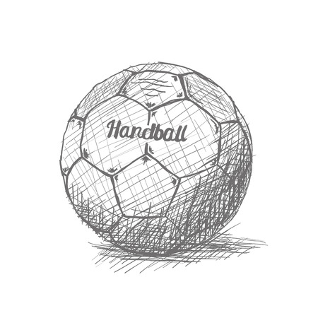 Isolated sketch of a handball ball on a white background Vettoriali