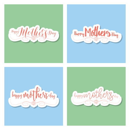 colored backgrounds: Set of colored backgrounds with text for mothers day