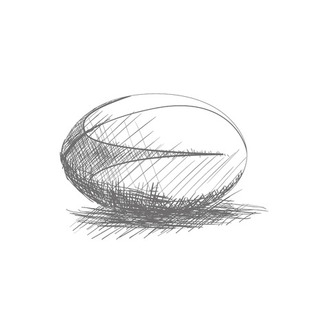 Isolated sketch of a rugby ball on a white background Ilustração Vetorial