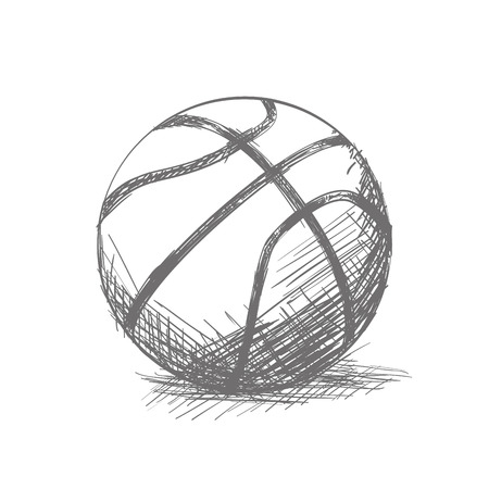 Isolated sketch of a basketball ball on a white background Vektorové ilustrace