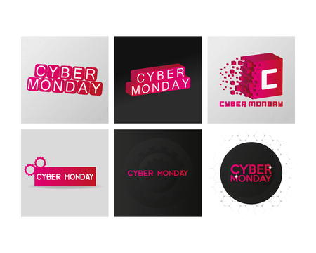 colored backgrounds: Set of colored backgrounds with text for cyber monday sales Illustration
