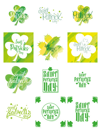 the irish image collection: Set of labels and backgrounds for saint patricks day Illustration