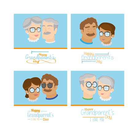 colored backgrounds: Set of grandparents on colored backgrounds with text Illustration