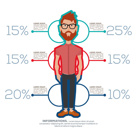 Isolated man with trendy clothes on a colored infographic
