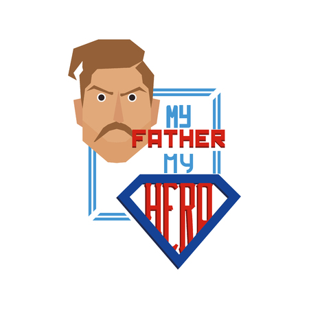 Isolated banner with text, an icon and a mans face for fathers day celebrations Illustration
