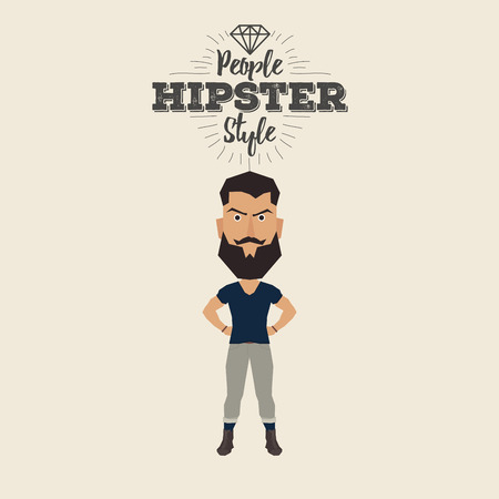 anchor man: Isolated hipster man on a white background with text