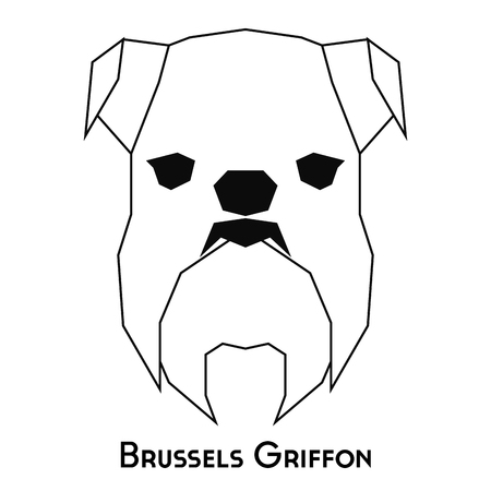 griffon: Isolated silhouette of a Brussels Griffon on a white background Illustration