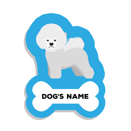 frise: Isolated blue dog tag with text and an illustration of a dog breed Illustration